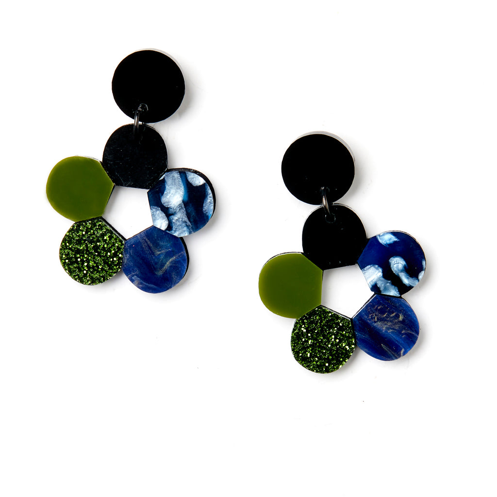 Lulu Earrings - Blue / Olive