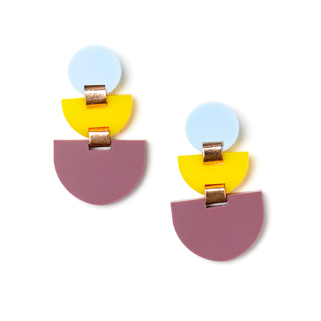 Boat Earrings - Yellow / Wine