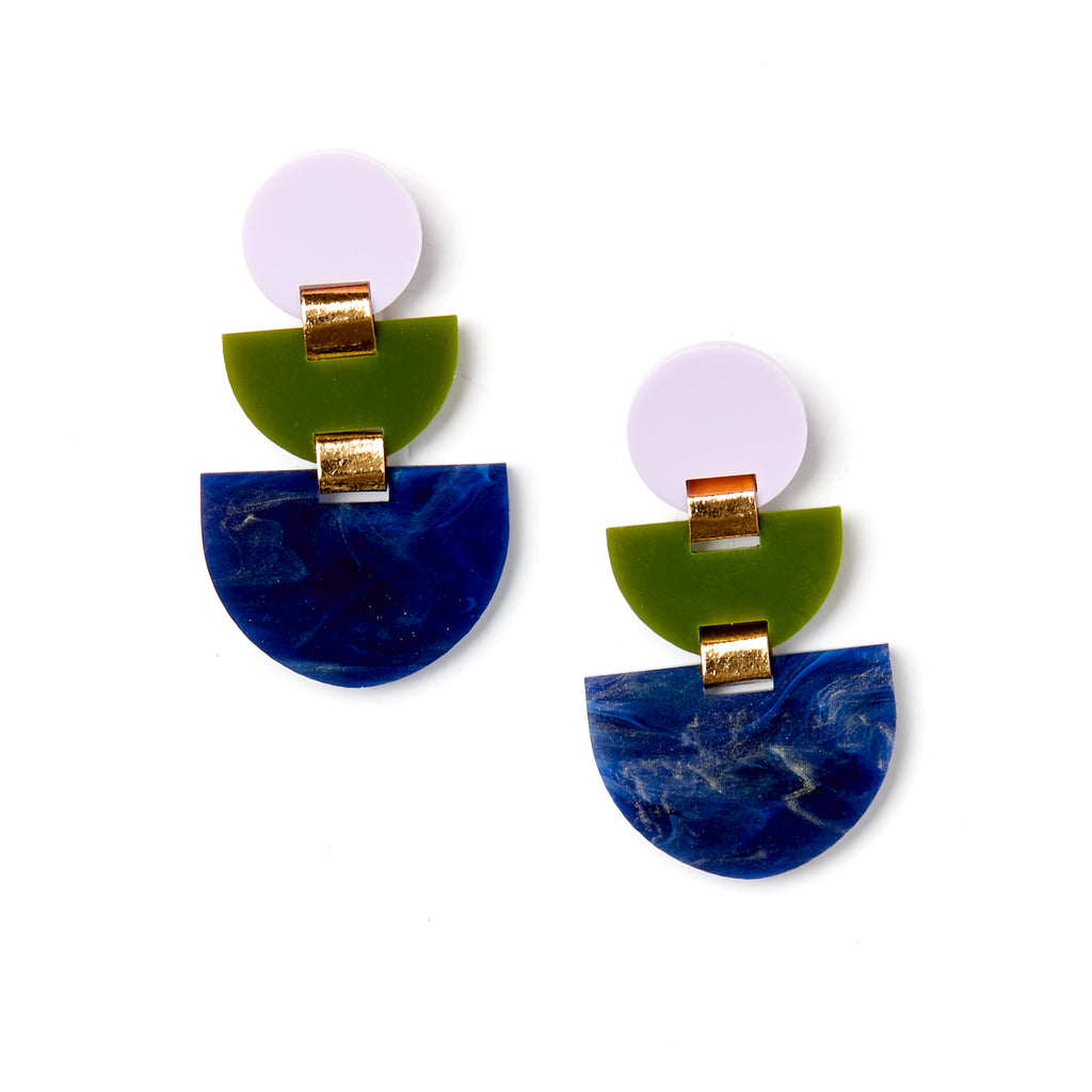 Boat Earrings - Lilac / Olive