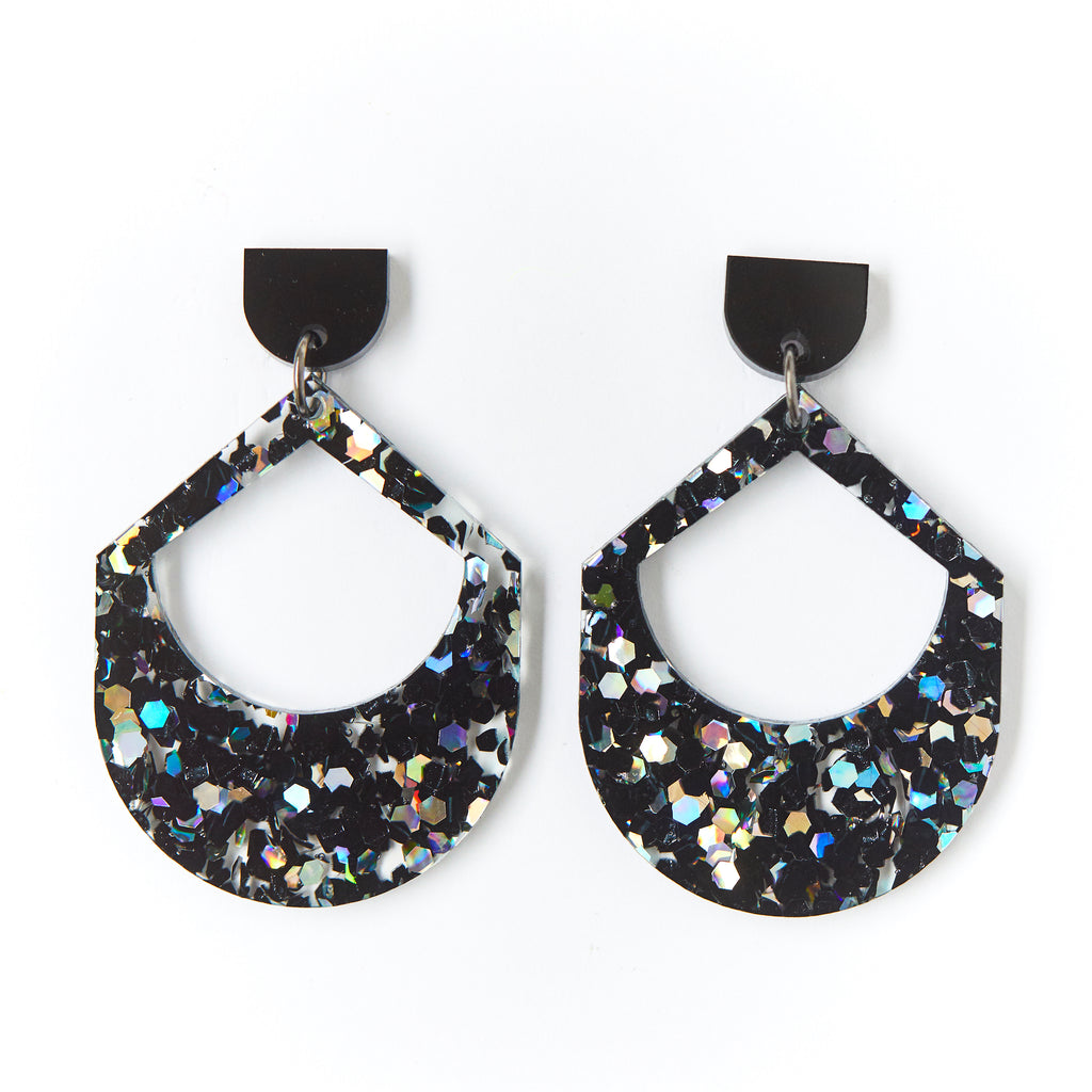 Large Drop Earrings - Black Cosmos