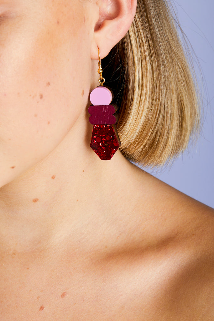 Monument Earrings - Red