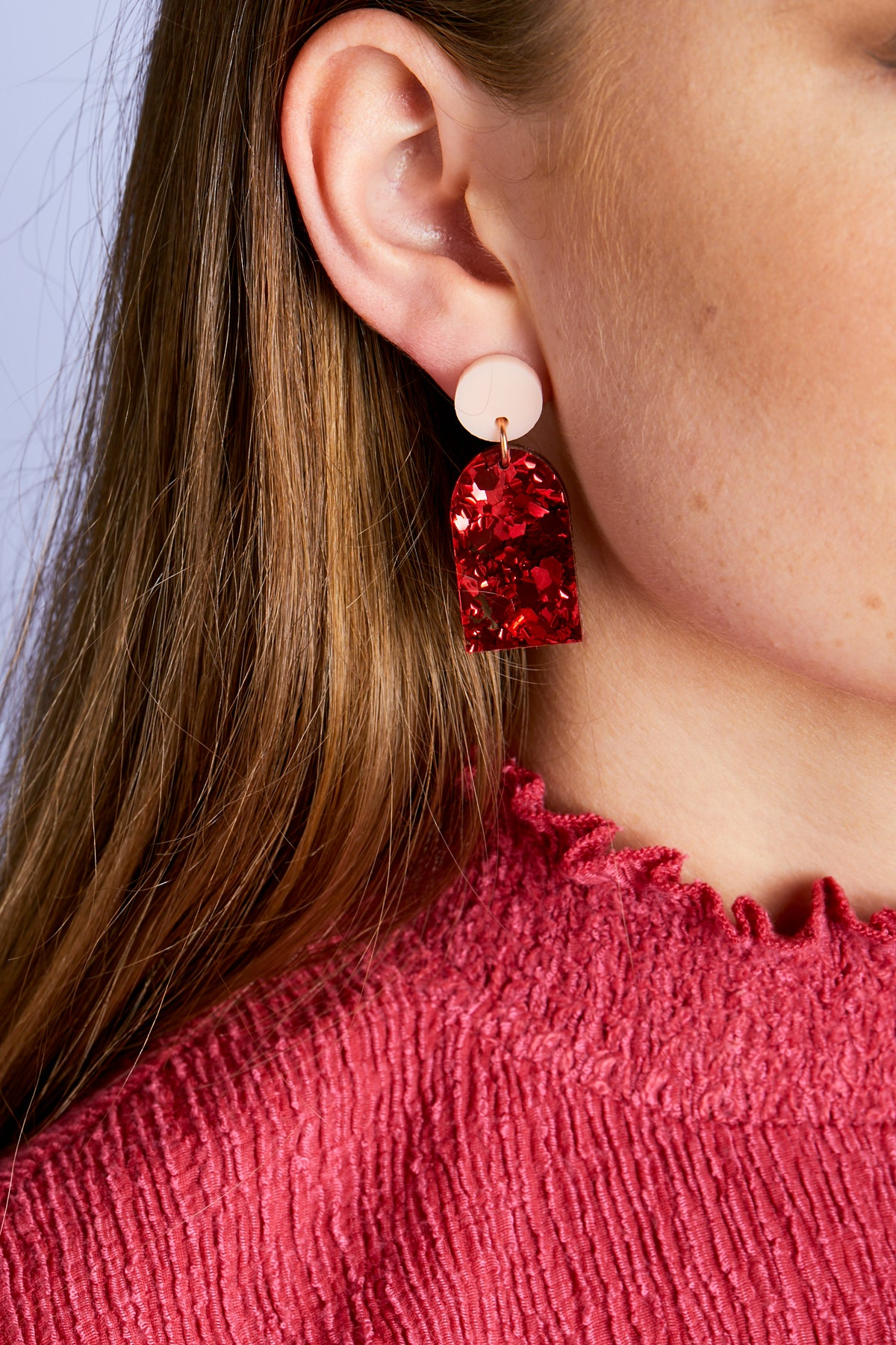 Arc Earrings - Pink / Red