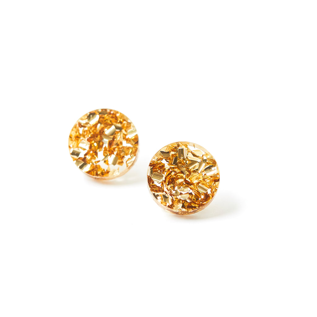Circle Stud Earrings - Gold Dust