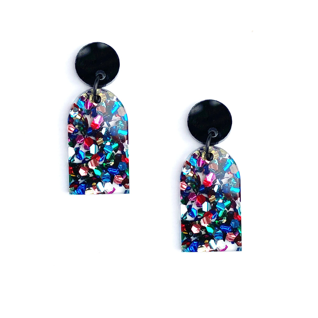Arc Earrings - Black/Disco