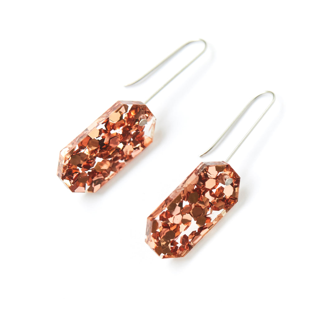 Jewel Drop Earrings - Dusty Pink