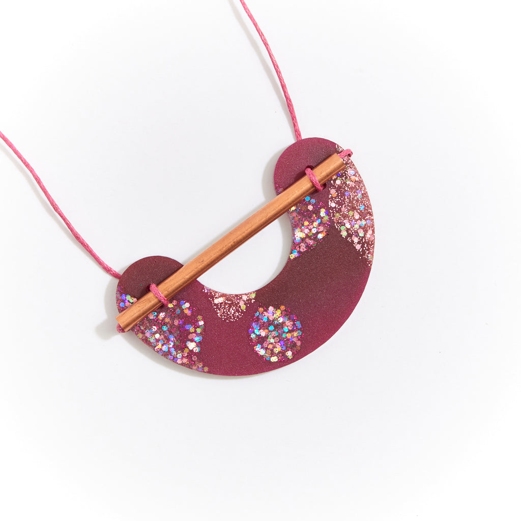 Resin Necklace - Burgundy