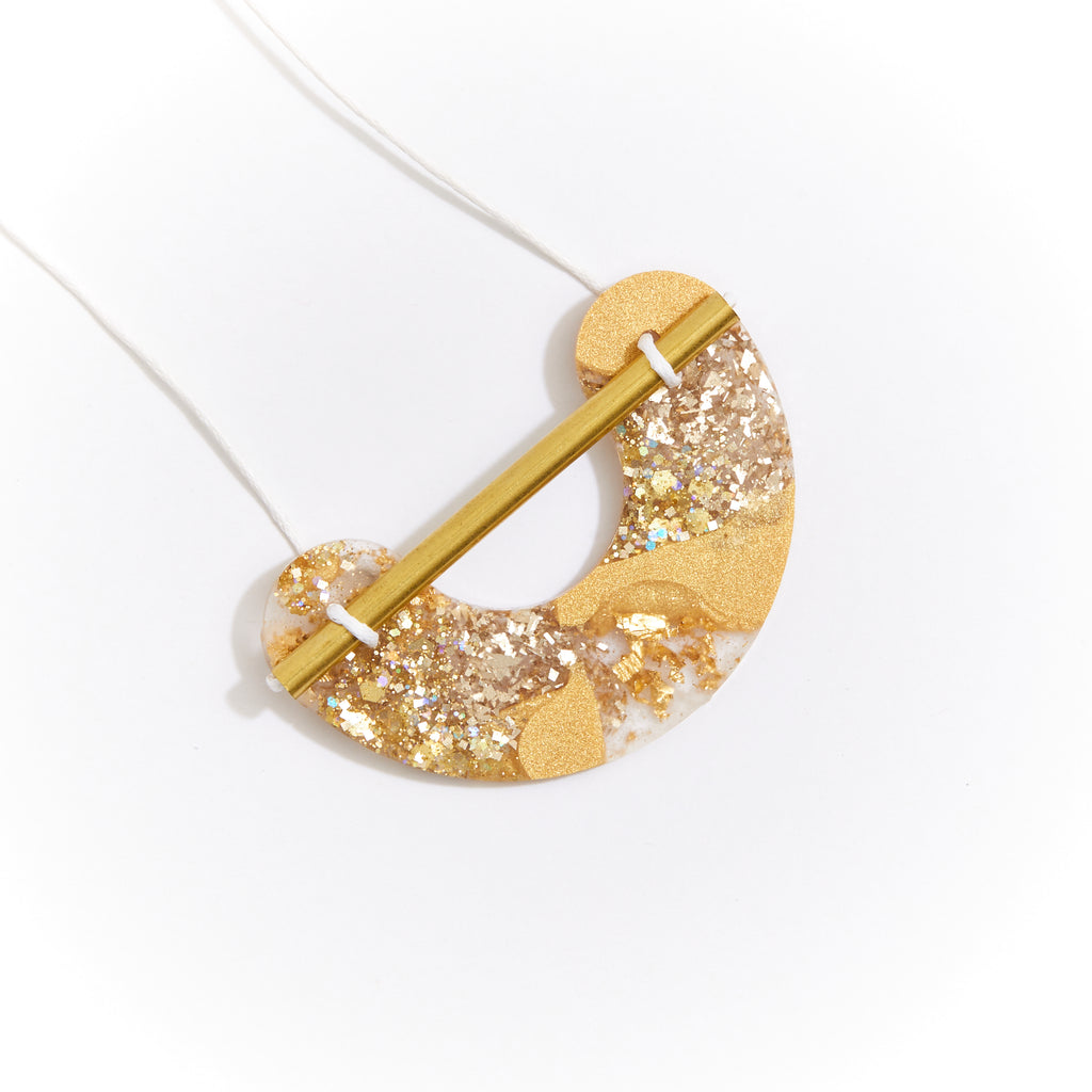 Resin Necklace - Gold
