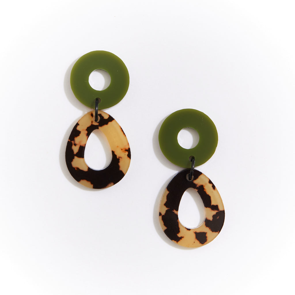 Camellia Earrings - Leopard Light