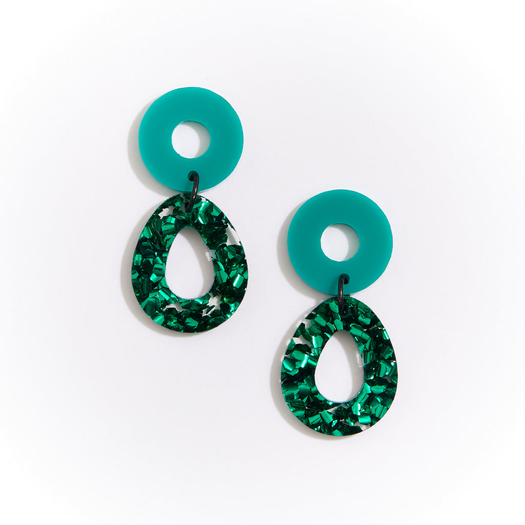 Camellia Earrings - Green