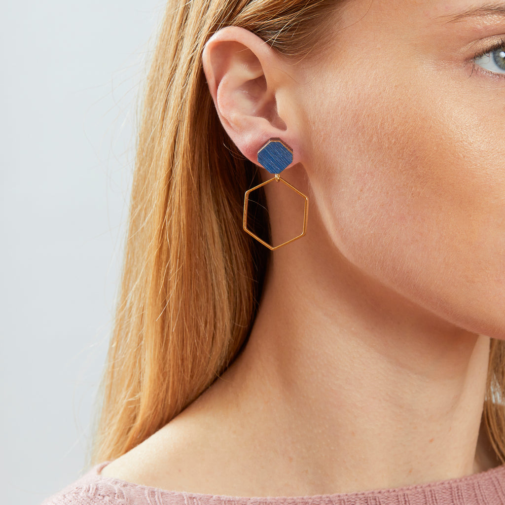 Hex Hoop Earrings - Blue