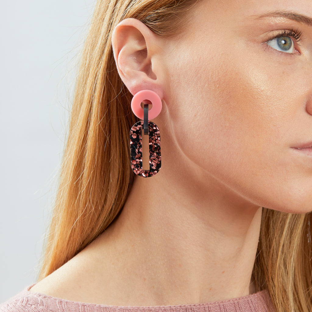 Jigsaw Earrings - Pink / Black