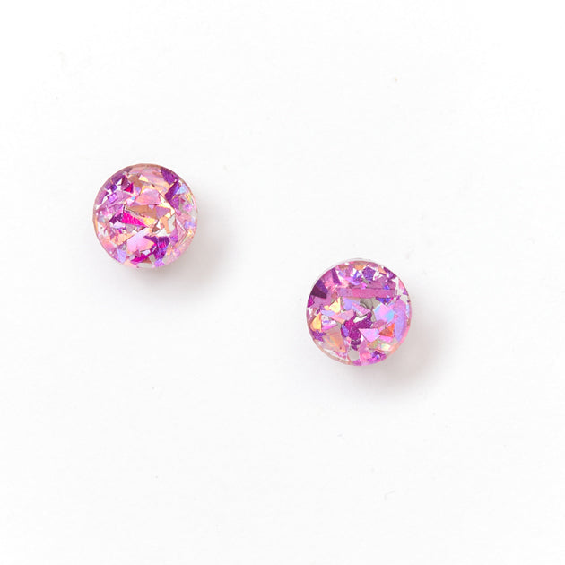 Mini Circle Stud Earrings - Mauve