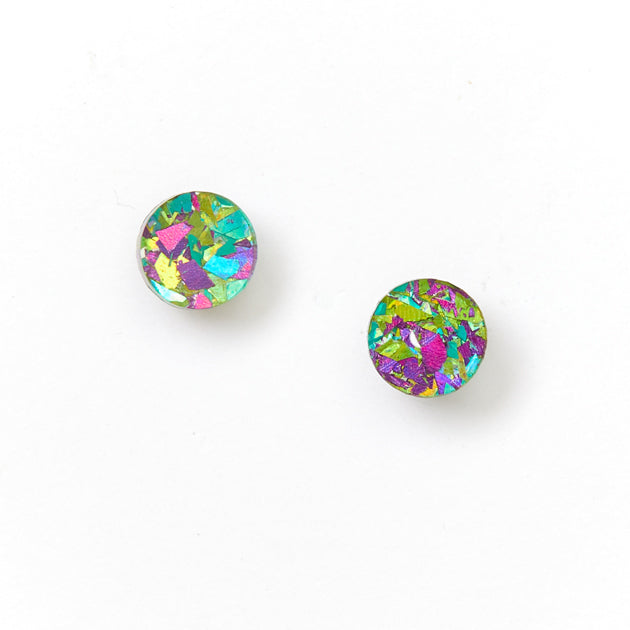 Picture Of Mini Circle Stud Earrings - Peacock