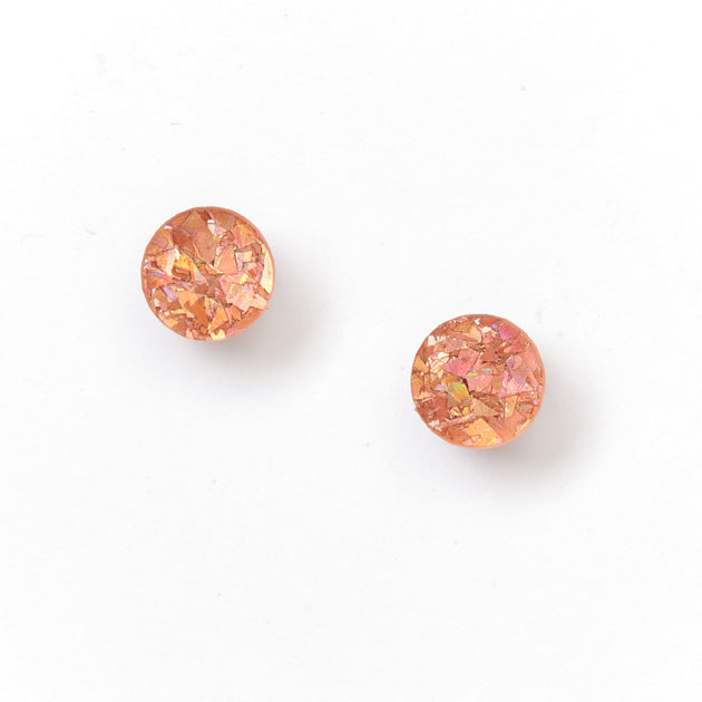 Picture Of Mini Circle Stud Earrings - Pink