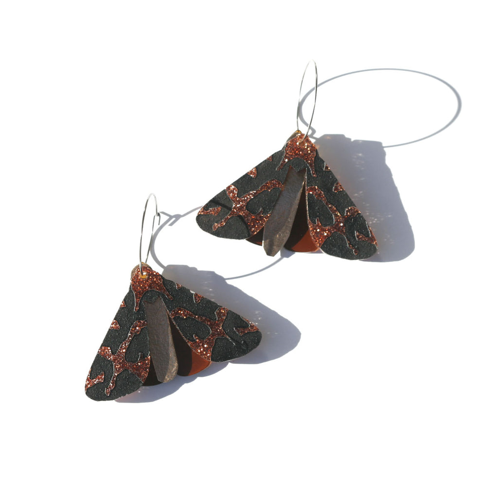 Moth Earrings - Copper