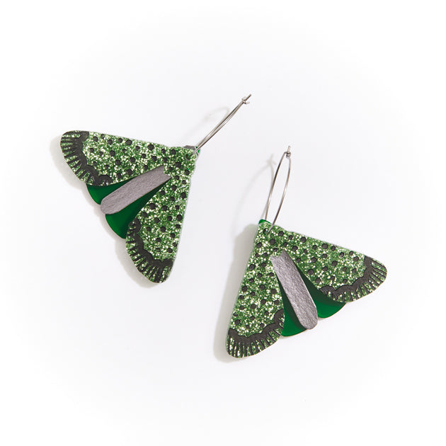 Moth Earrings - Green