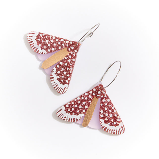 Moth Earrings - Rose