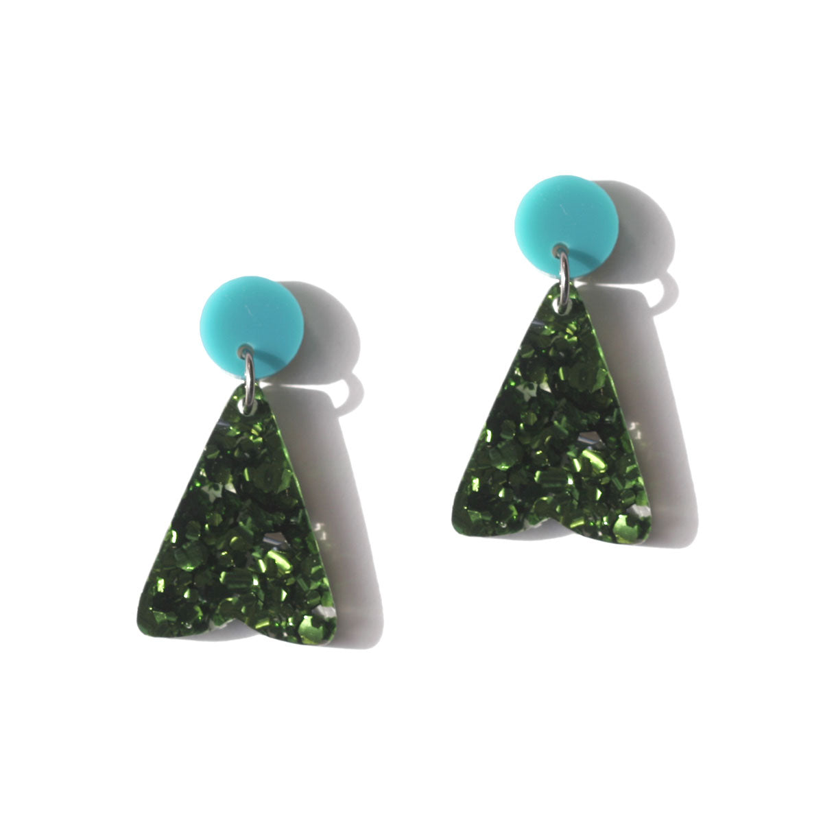 Petal Earrings - Teal Green