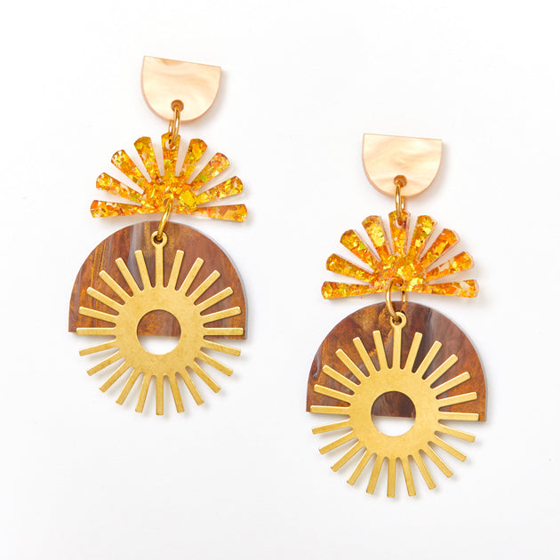 Sunset Earrings - Gold / Amber
