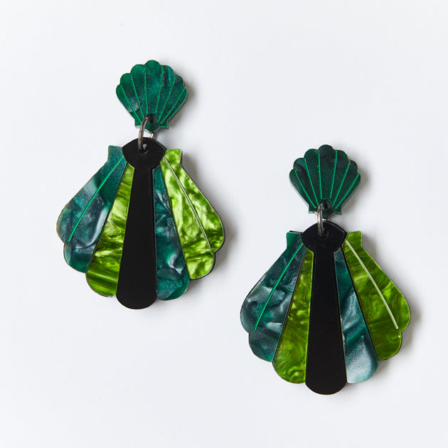 Shell Earrings - Green