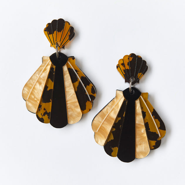 Shell Earrings - Leopard