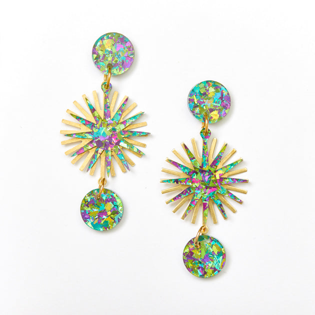 Star Burst Earrings - Peacock / Gold