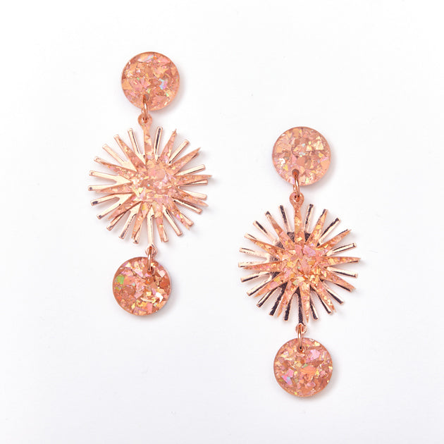 Star Burst Earrings - Pink / Rose Gold