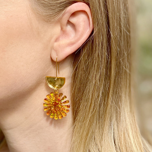 Star Drop Earrings - Gold / Amber