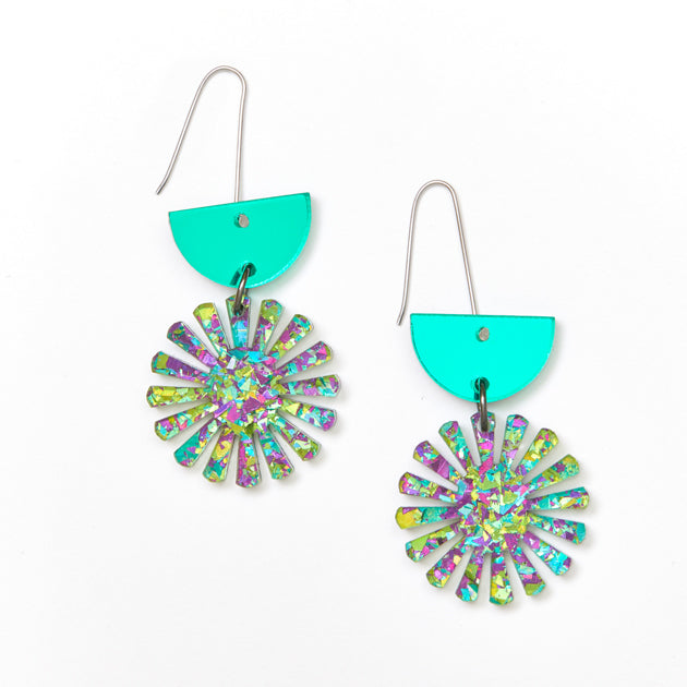 Star Drop Earrings - Green / Peacock