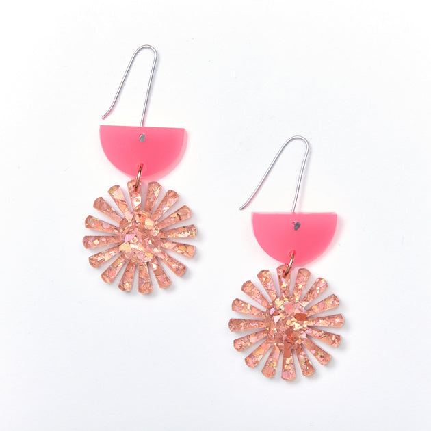 Star Drop Earrings - Neon Pink