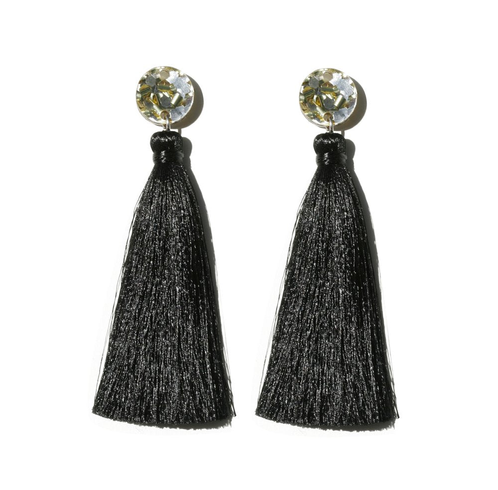 Tassel Earrings - Gold / Black