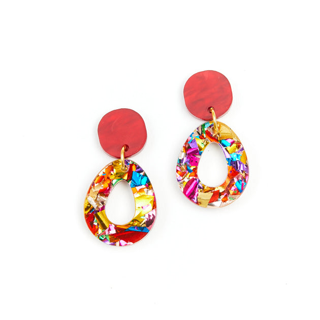 Tempest Earrings - rainbow glitter