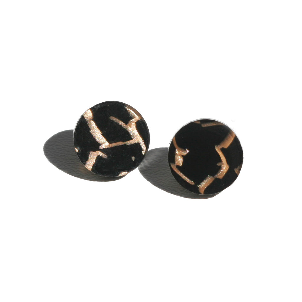 Circle Stud Earrings - Tiger Black