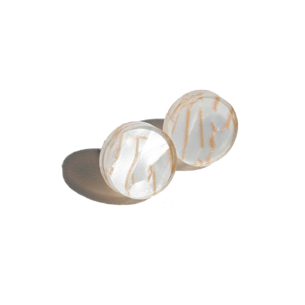 Circle Stud Earrings - Tiger White
