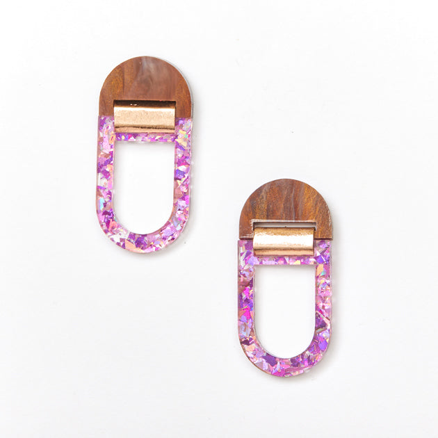 U Hoop Earrings - Brown / Mauve