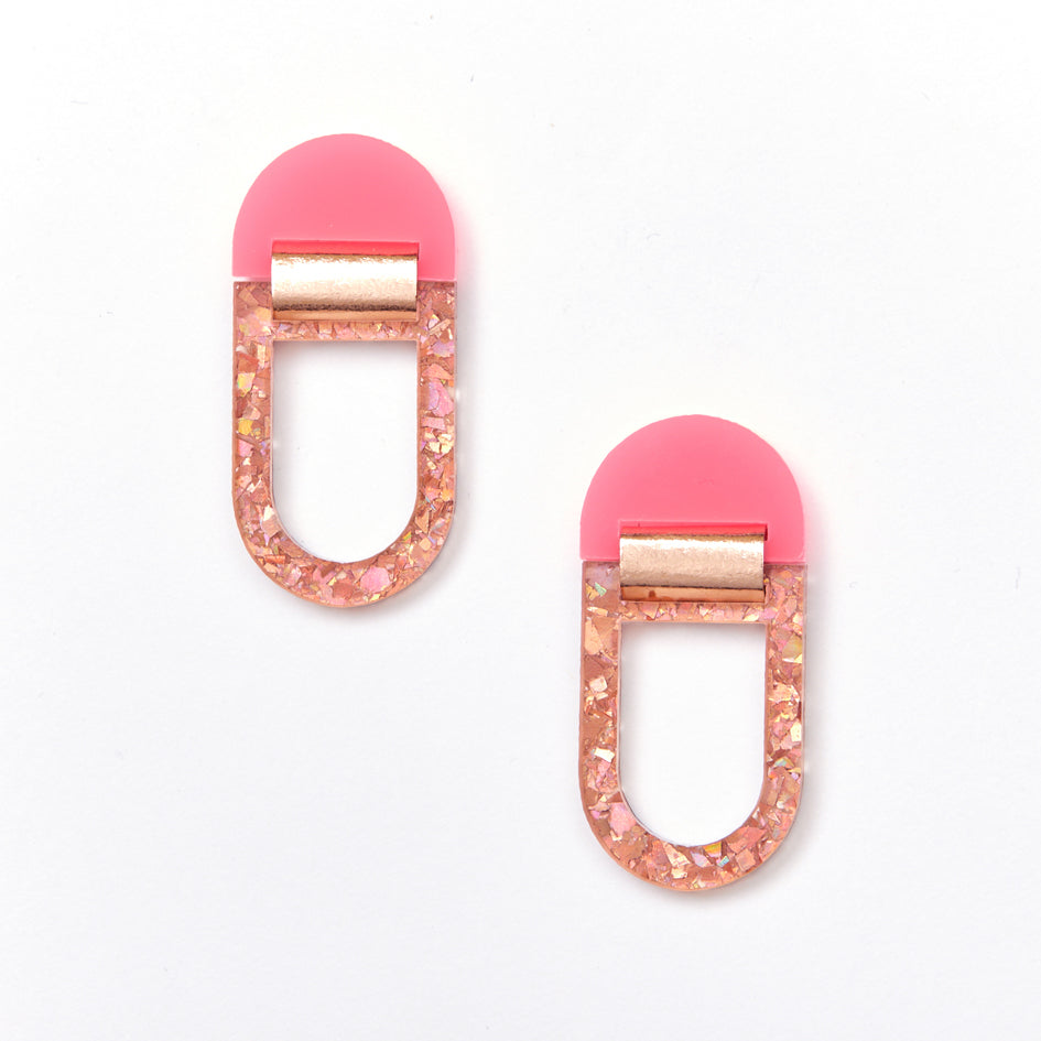 U Hoop Earrings - Neon Pink