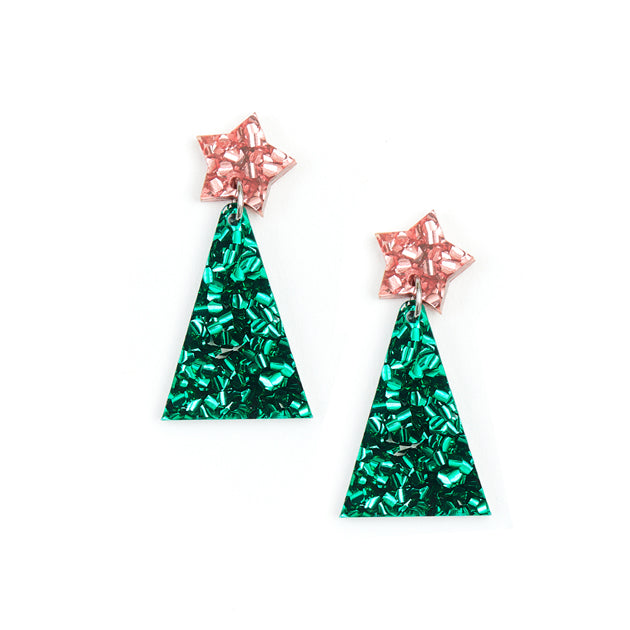 Christmas Tree Earrings - Pink/Green
