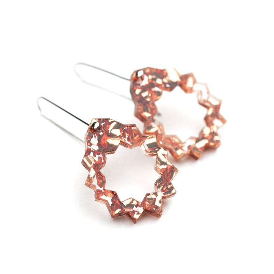 Zap Drop Earrings - Copper