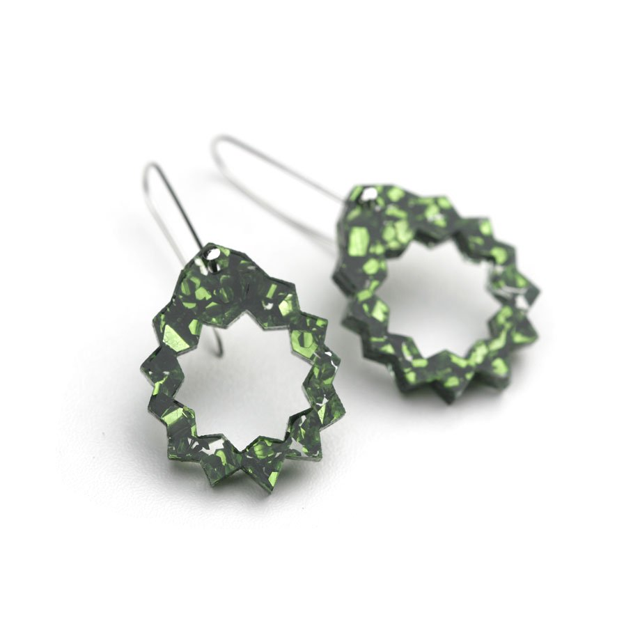 Zap Drop Earrings - Green