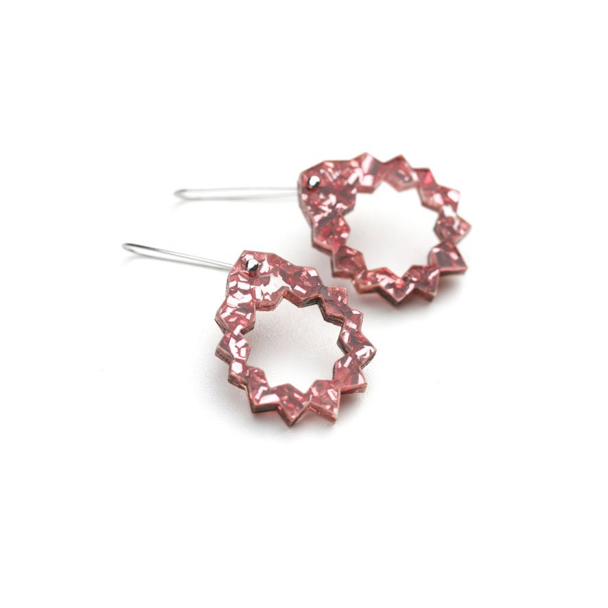 Zap Drop Earrings - Pink