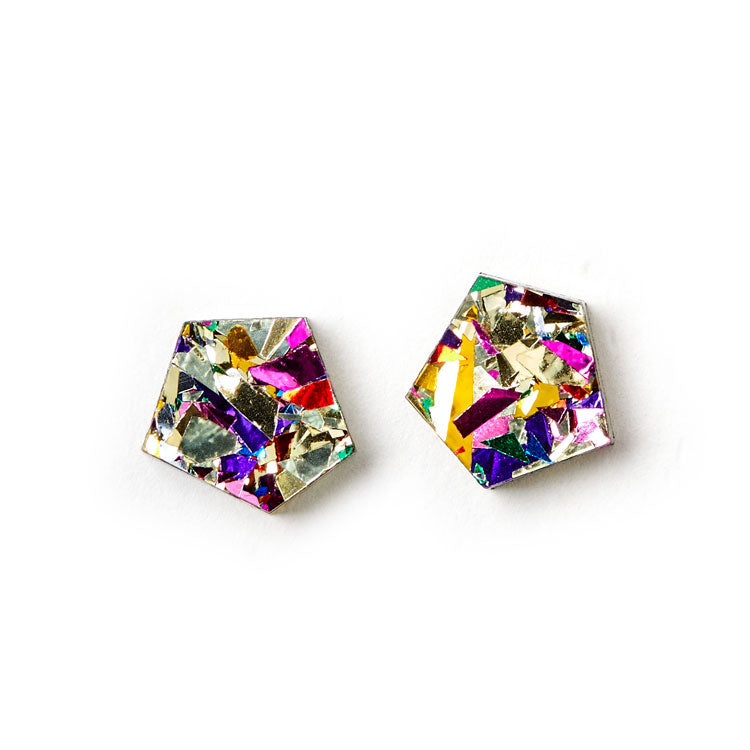 Gem Stud Earrings - Gold / Confetti
