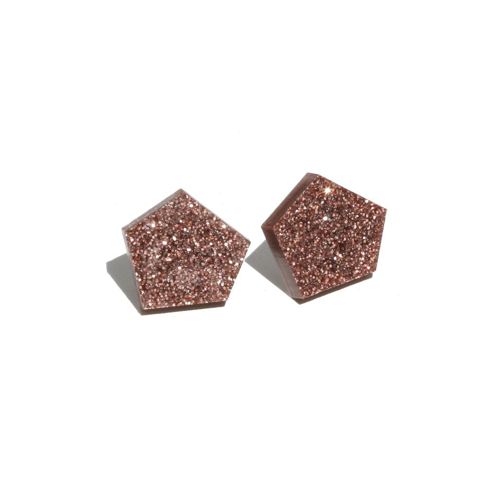 Gem Stud Earrings - Glitter Copper