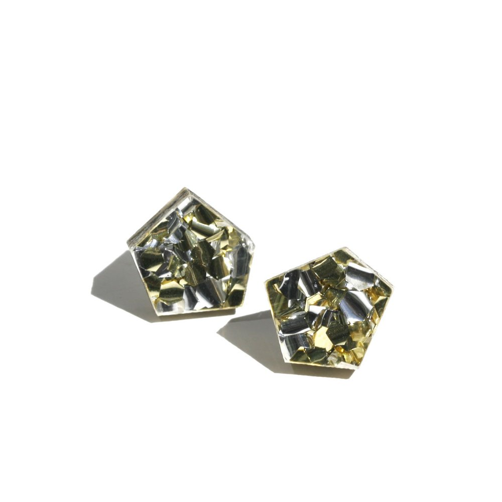 Gem Stud Earrings - Gold / Silver