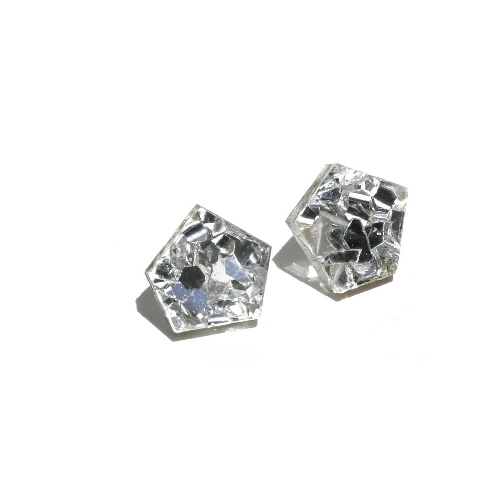 Gem Stud Earrings - Silver
