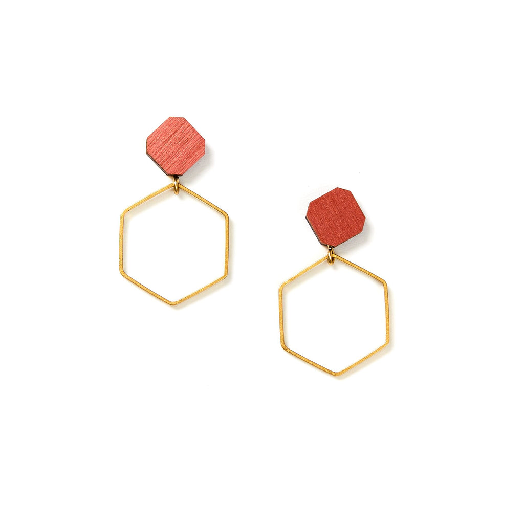 Hex Hoop Earrings - Mustard
