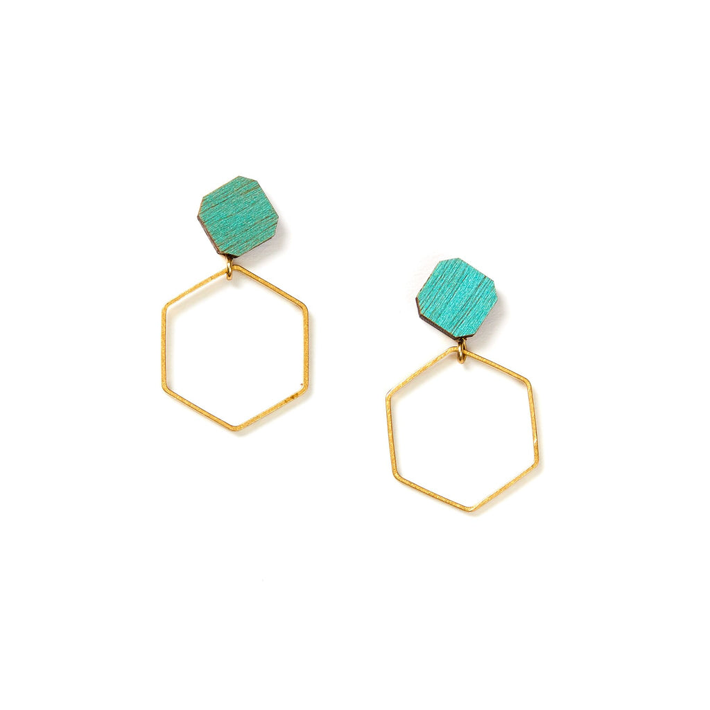 Hex Hoop Earrings - Sage