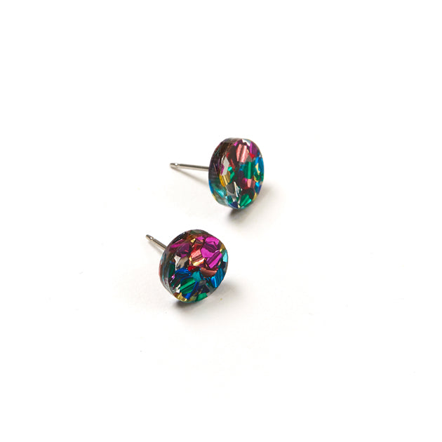 Mini Circle Stud Earrings - Disco