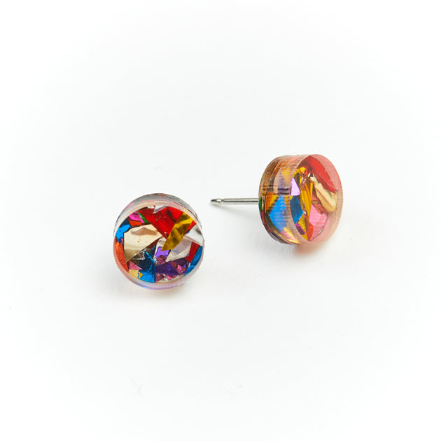 Mini Circle Stud Earrings - Rainbow