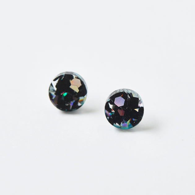 Mini Circle Stud Earrings - Black Cosmos