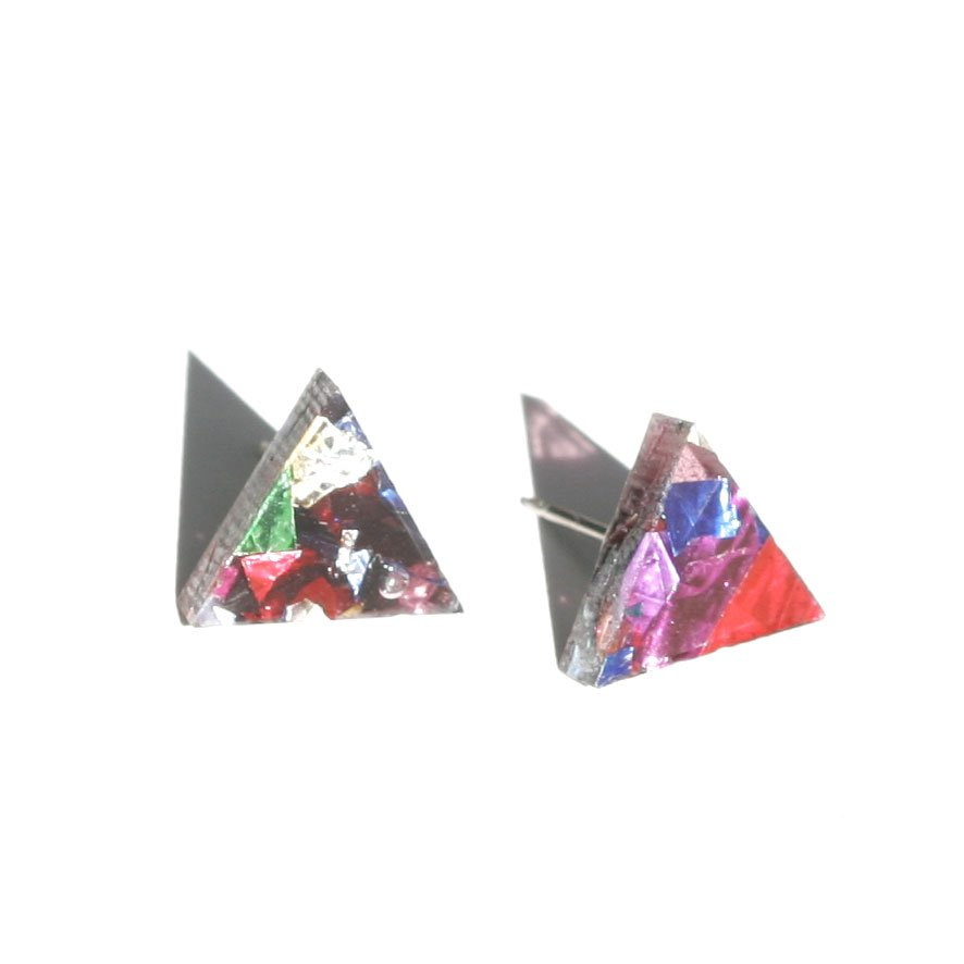 Mini Triangle Studs - Confetti
